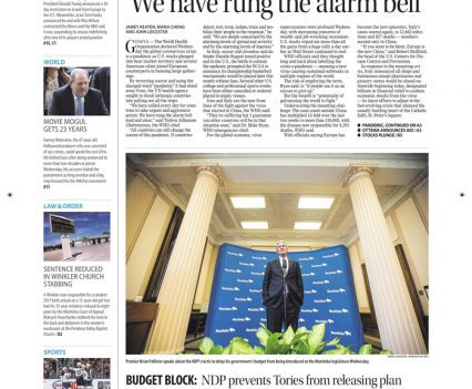 """Winnipeg Free Press front page with lead story headline """"'We have rung the alarm bell'"""""""