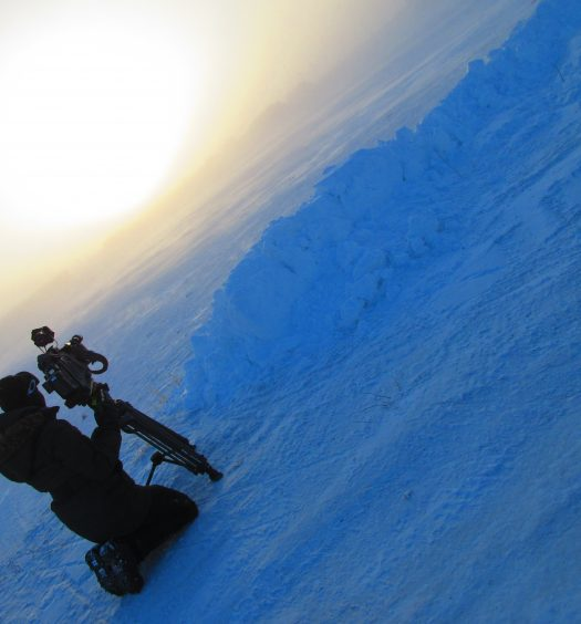 Charlotte Morritt-Jacobs shooting video in Rankin Inlet