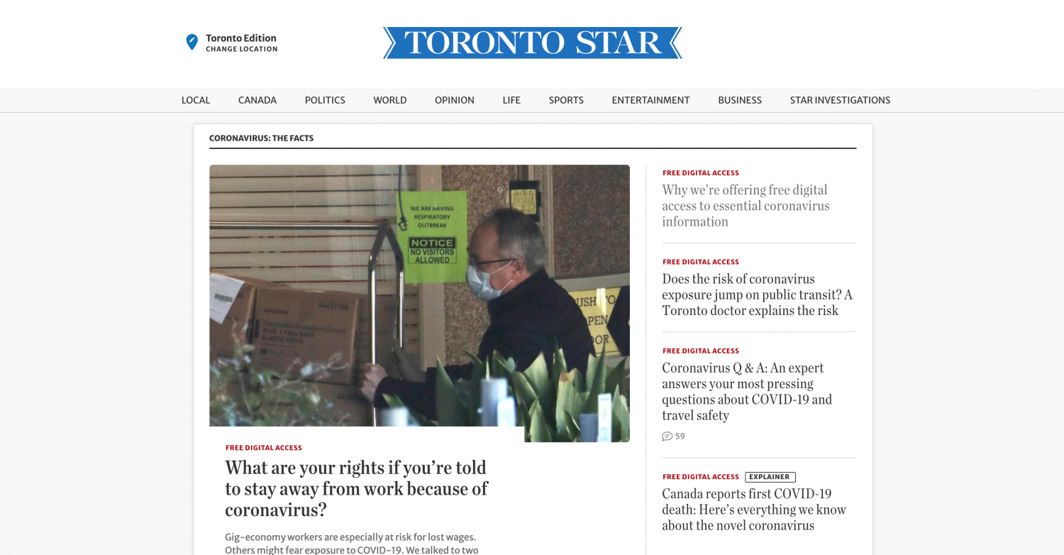 """Toronto Star homepage with feature story headline """"What are your rights if you're told to stay away from work because of the coronavirus"""""""""""