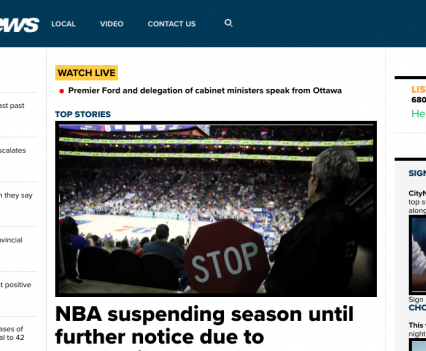 """CityNews homepage with feature story headline """"NBA suspending season until further notice due to..."""""""