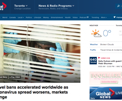 """Global News homepage with feature story headline """"Travel bans accelerated worldwide as coronavirus spread worsens, markets plunge"""""""