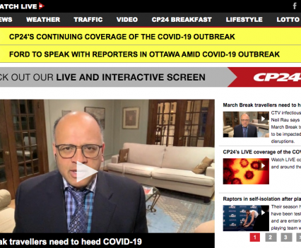 """CP24 homepage with feature story headline """"March Breal travellers need to heed COVID-19"""""""