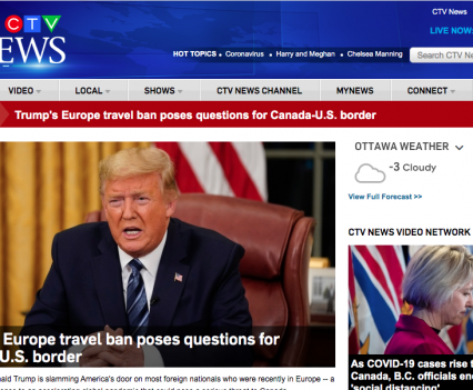 """CTV News homepage with feature story headline """"Trump's Europe travel ban poses questions for Canada-U.S. border"""""""