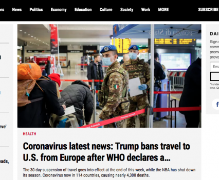 """Maclean's homepage with feature story headline """"Coronavirus latest news: Trump bans travel to U.S. from Europe after WHO declares a..."""""""