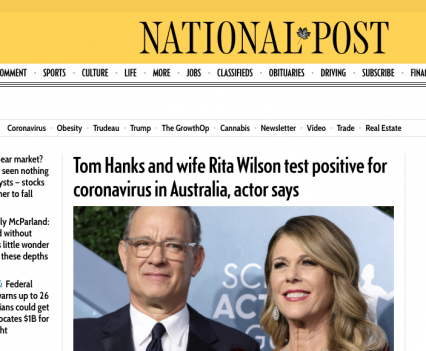 """National Post homepage with feature story headline """"Tom Hanks and wife Rita Wilson test positive for coronavirus in Australia, actor says"""""""