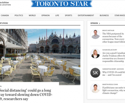 """Toronto Star homepage with feature story headline """"'Social distancing' could go a long way toward slowing down COVID-19, researchers say"""""""