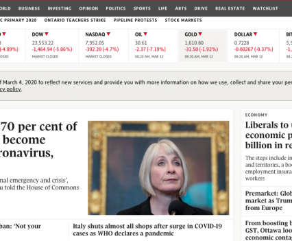 """Globe and Mail homepage with feature story headline """"Between 30 and 70 per cent of Canadians could become infected with coronavirus, Patty Hajdu says"""""""""""