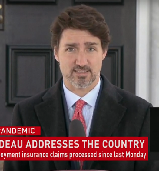 Prime Minister Justin Trudeau delivers address on March 25, 2020
