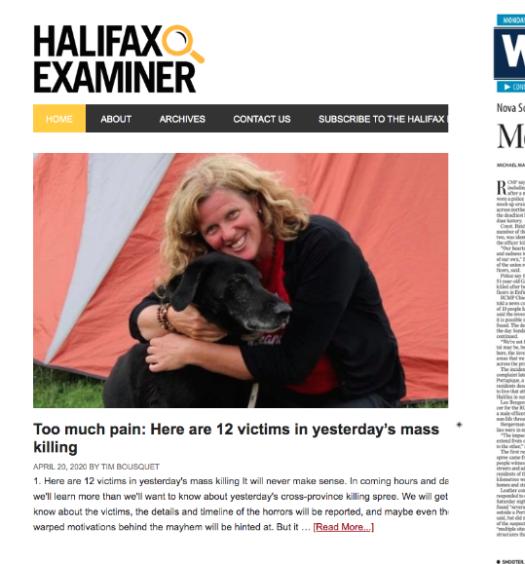 Collage of Ottawa Citizen, Halifax Examiner and Winnipeg Free Press coversn