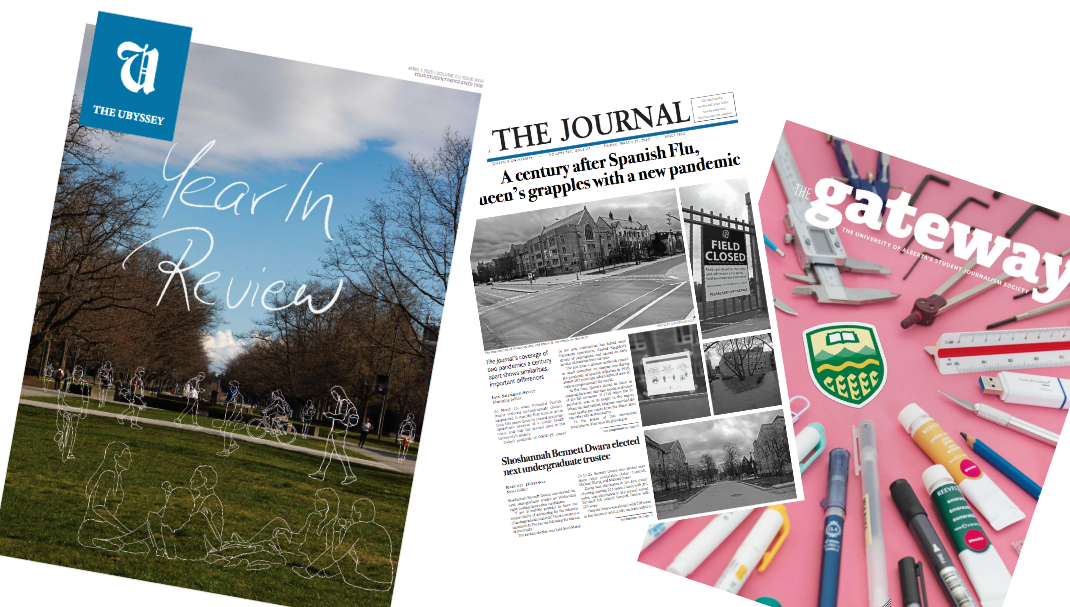 Collage of Ubyssey, the Journal and the Gateway covers