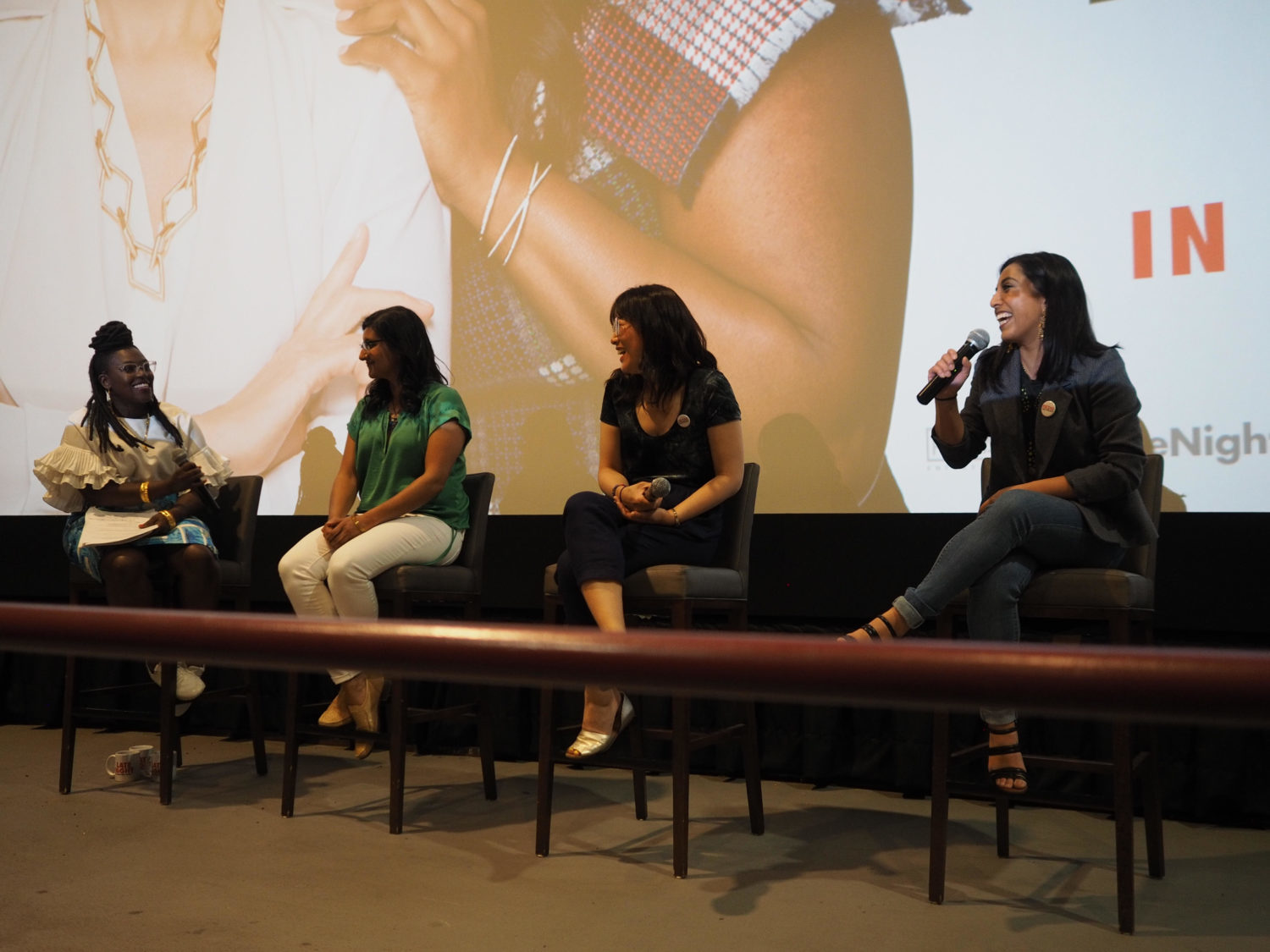 Media Girlfriends hosts a screening of 'Late Night' in Toronto on June 2, 2019. From left, Nana aba Duncan, Nelu Handa (actor, comedian and writer), Hannah Sung (digital manager at TVO) and Ishani Nath (senior editor at Flare Magazine)