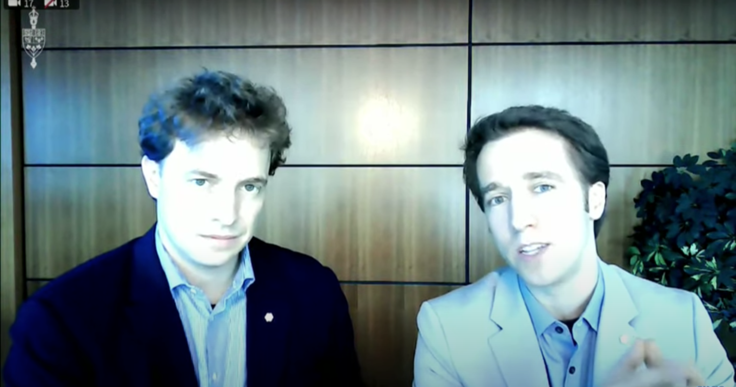 Marc and Craig Kielburger appear at a House finance committee hearing on July 28, 2020