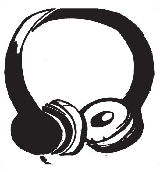 Black and white drawing of headphones