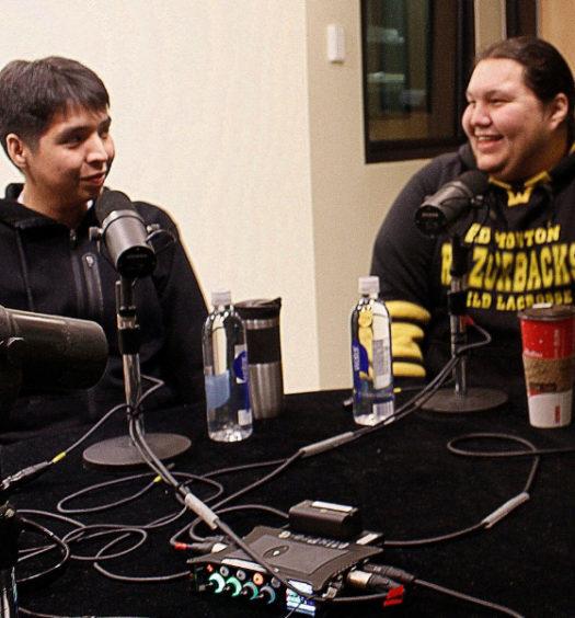 Jacob Lightning and Jonas Maclaurin in recording studio