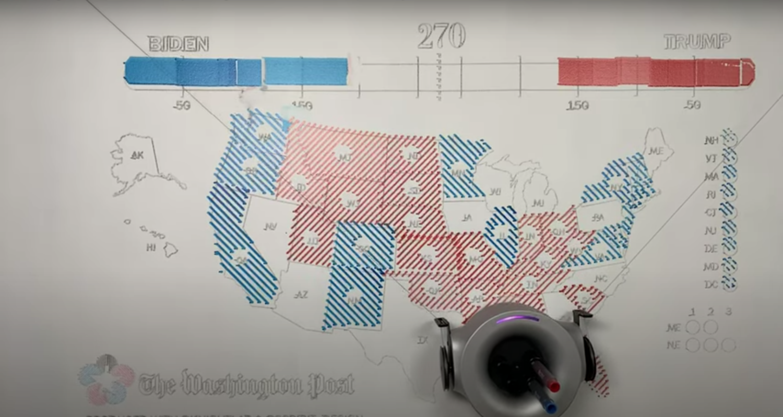 Screenshot of the Washington Post, KnightLab and Scribit Design map-drawing robot.
