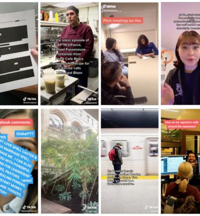 Collage of 8 TikTok screenshots from BlogTo, Global News and APTN