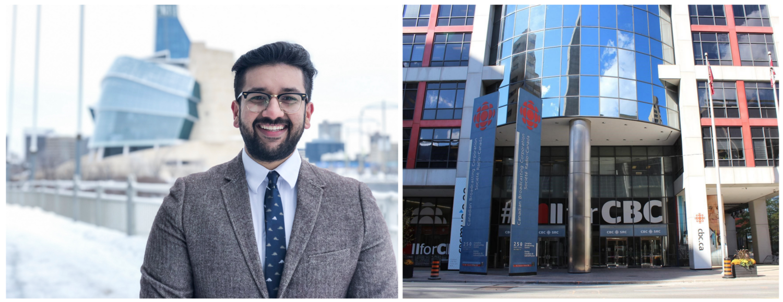Ahmar Khan on left. CBC exterior on right.