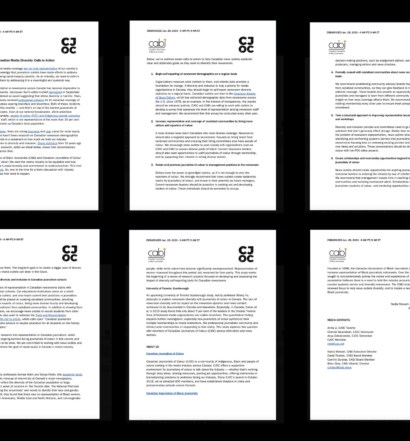 Grid of each page of the CABJ/CJOC calls to action on a black background.