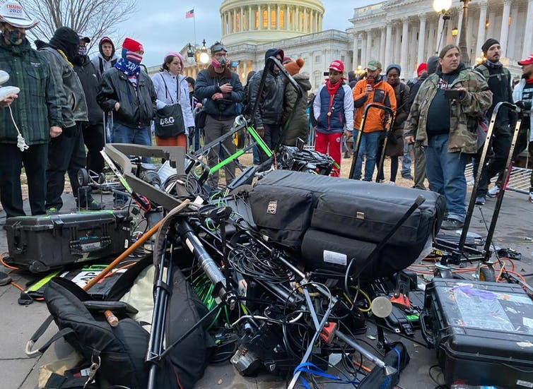 Equipment of media crews damaged during clashes after the US President Donald Trumps supporters breached the US Capitol security in Washington D.C., United States on January 06, 2021.