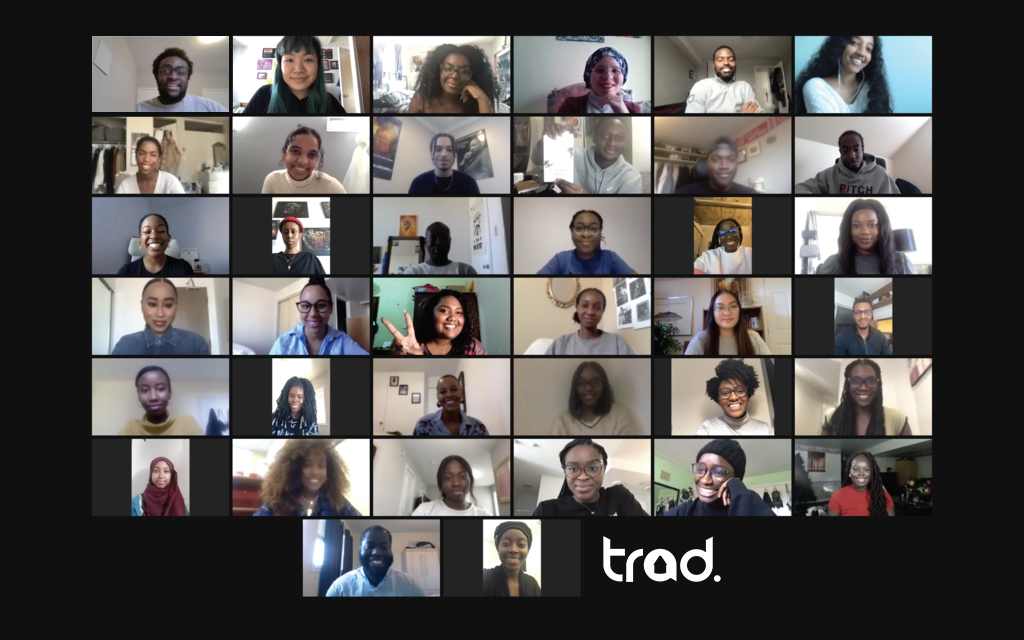 A group of 38 young people on a Zoom call