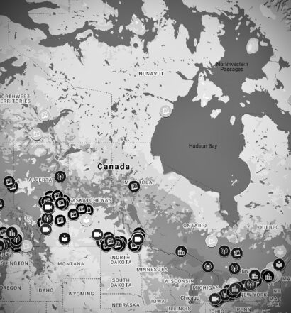 Black and white COVID-19 Media Impact Map for Canada in Google Maps showing 286 markers.