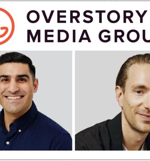 Overstory Media Group logo on top, photo of Farhan Mohamed bottom left, photo of Andrew Wilkinson bottom left, on white background