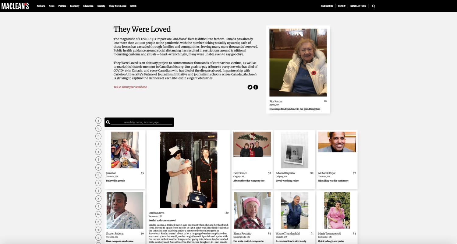 They Were Loved, an obituary initiative produced in partnership with Carleton University's Future of Journalism Initiative, on Maclean's website.