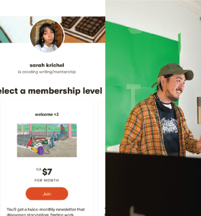From left to right: Trick Magazine logo, Before I Die Podcast logo; screenshot of Sarah Krichel's Patreon; Photo of Adam Chen; Photo of Shanelle Somers.