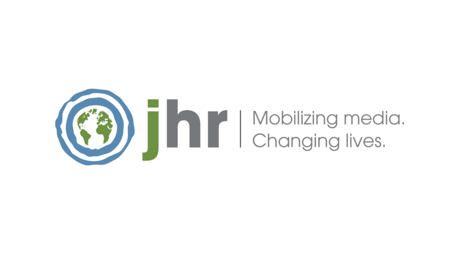 Journalists for Human Rights logo. Text: JHR Mobilizing media. Changing lives.