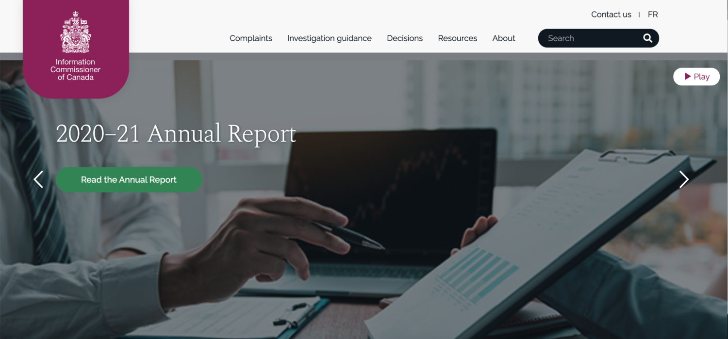 Website of the information commissioner, featuring 2020-21 annual report
