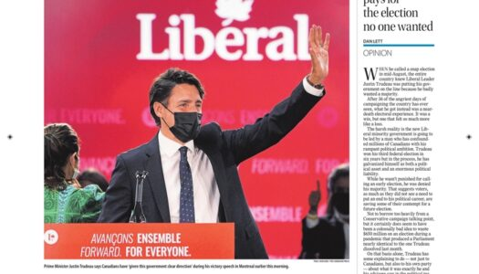 Front pages the day after a 2021 Canadian election