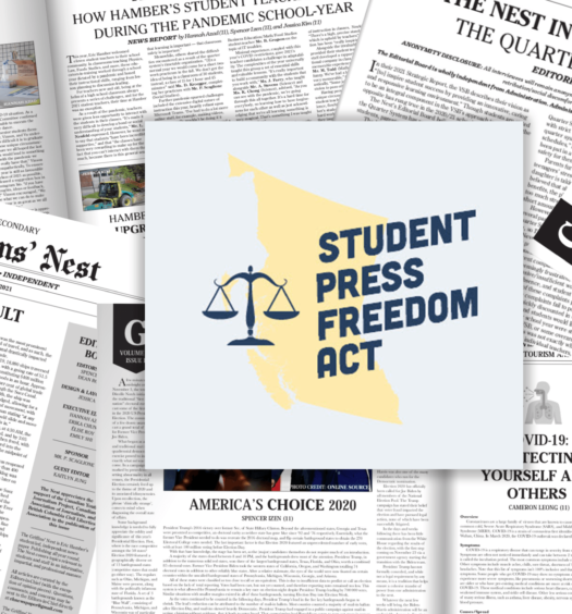 """Collage of Griffins' Nest paper front pages. Student Press Freedom Act logo in centre: Dark blue scale icon on the left, dark blue text reading """"Student Press Freedom Act"""" over yellow map of B.C. over light blue background."""