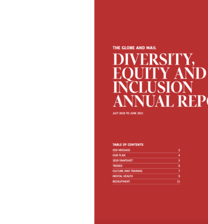 The Globe and Mail DEI Annual Report. Red background and white text reading: THE GLOBE AND MAIL DIVERSITY, EQUITY AND INCLUSION ANNUAL REPORT JULY 2020 TO JUNE 2021